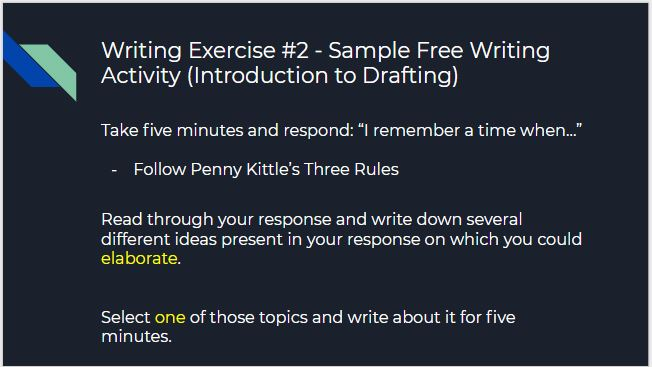 Kittle Writing exercise